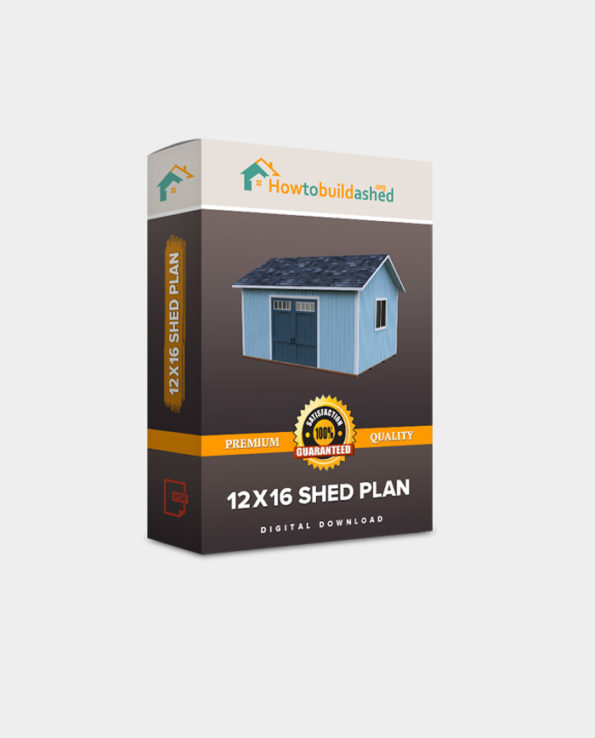 12X16 Gable Storage Shed Plan w/ Double Door