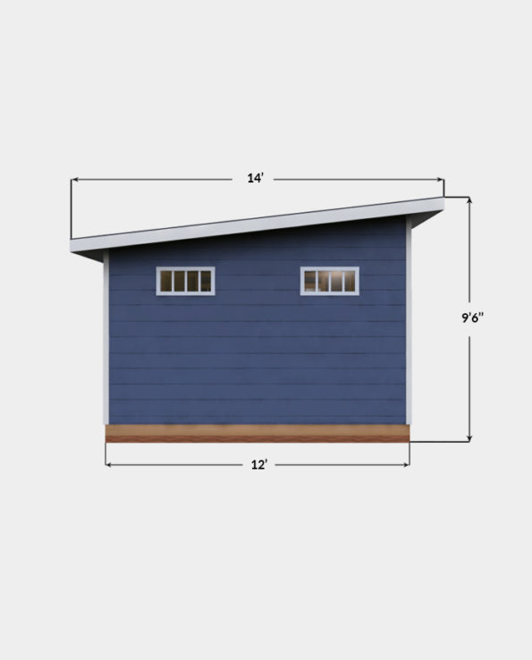12x14 Lean-To shed plan side view