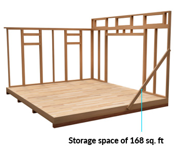 12x14 Lean-To shed space