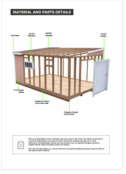 12x18 Lean-To shed plan visual