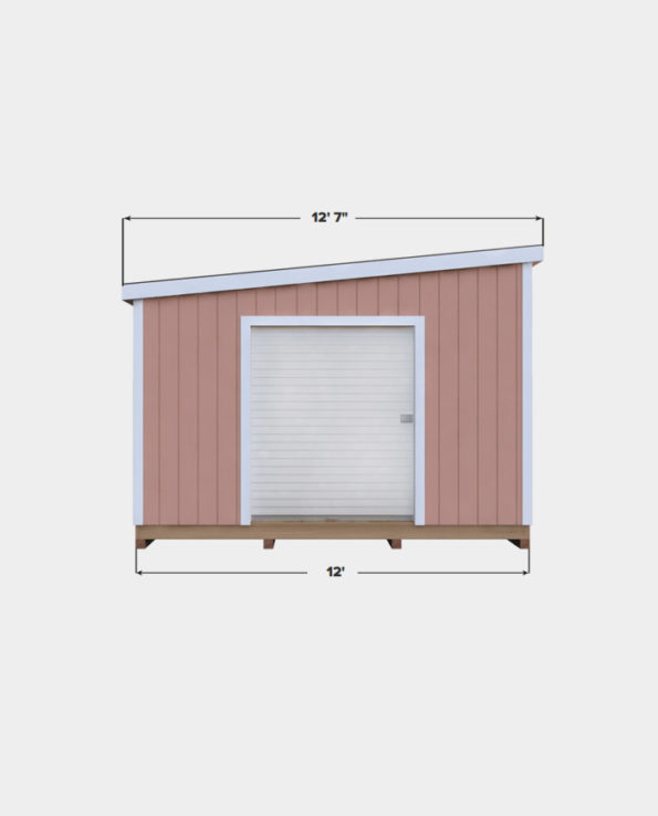 12x18 Lean-To shed plan front view