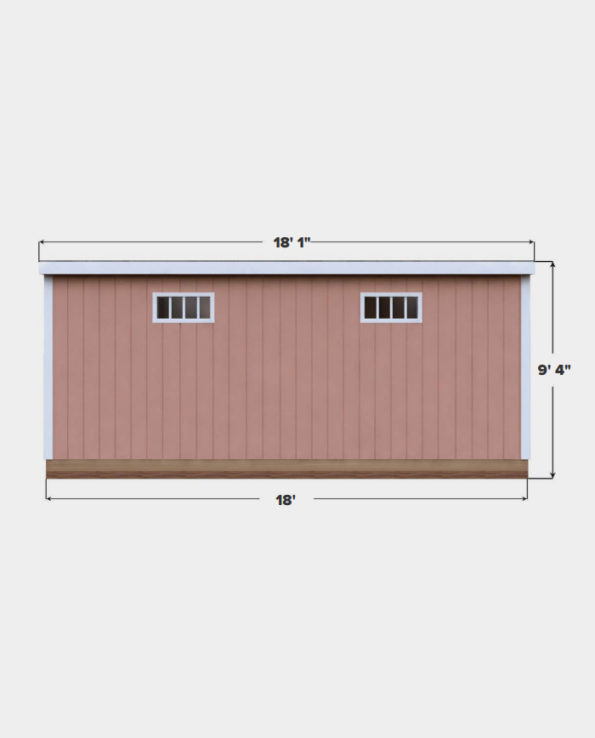 12x18 Lean-To shed plan side view