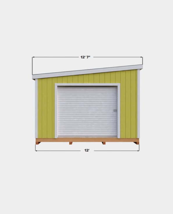 12x24 Lean-To shed plan front view