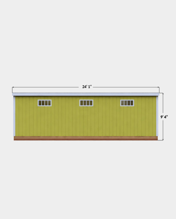 12x24 Lean-To shed plan side view