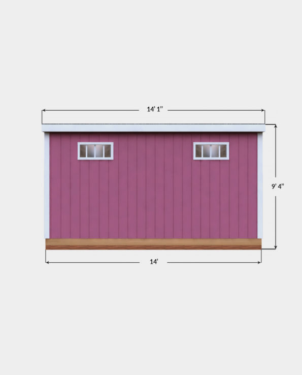 14x14 Lean-To shed plan side view