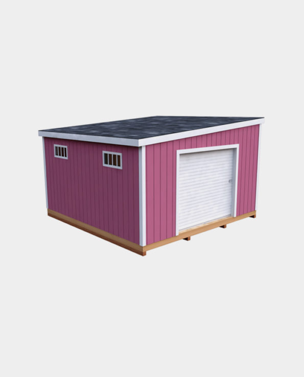 14x14 Lean-To DIY shed 3D