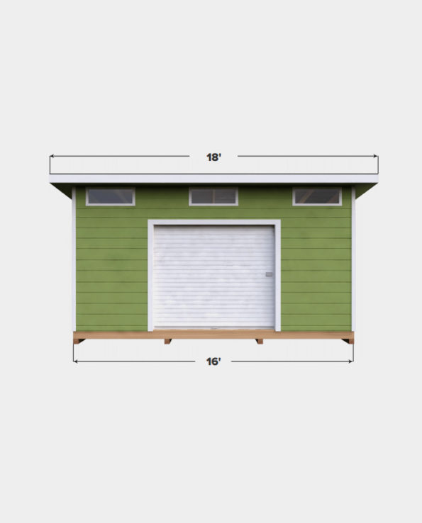 14x16 Lean-To shed plan front view
