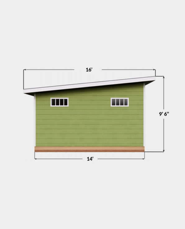 14x16 Lean-To shed plan side view