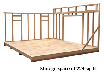 14x16 Lean-To shed space