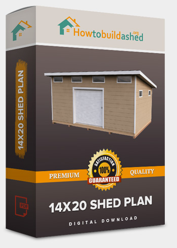 14x20 Lean-To shed plan product box