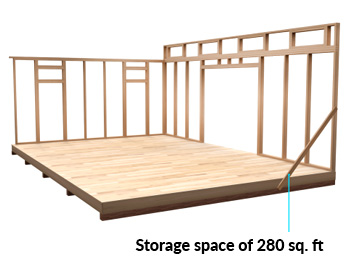 14x20 Lean-To shed space
