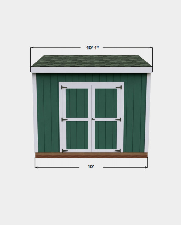 6x10 Lean-To shed plan front view