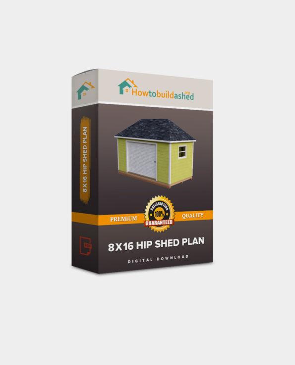 8×16 Hip Roof Storage Shed Plan